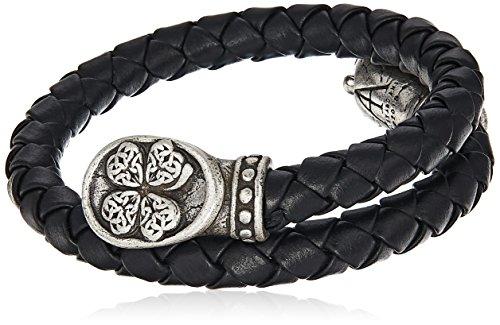Alex and Ani Men's Braided Leather Wrap Bracelet, Four Leaf Clover, Rafaelian Silver, Expandable