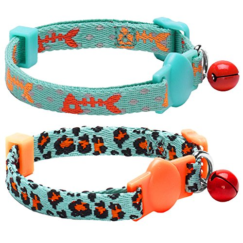 Blueberry Pet Pack of 2 Cat Collars, Hunting Expedition with Fish...