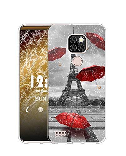 Sunrive Funda Compatible con Ulefone Note 7P, Silicona Slim Fit Gel Transparente Carcasa Case Bumper de Impactos y Anti-Arañazos Espalda Cover(Q Torre de Hierro)