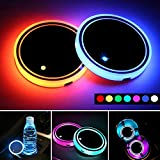 LED Car Cup Holder Lights,7 Colors Changing USB Charging Mat Waterproof Cup Pad,LED Interior Atmosphere Lamp Decoration Light Car Accessories (2pcs) (1 Ring)