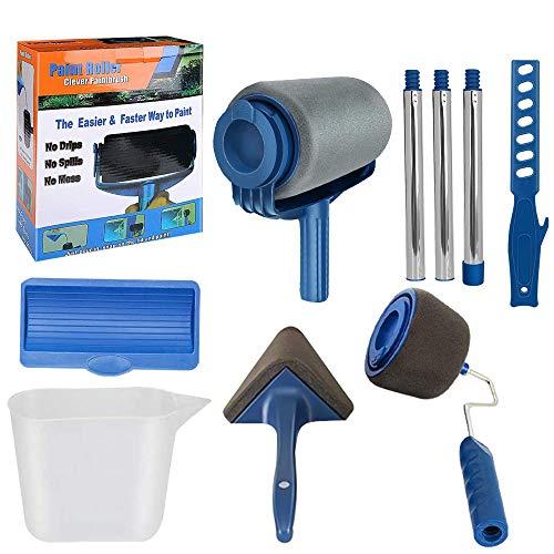 9Pcs/Set Paint Roller Kit, TANOKY Multifunctional Non Drip Paint Roller Set with Sticks, Paint Roller Brush Handle Tool, Wall Printing Brush Kit for Home Office School- Interior Paint (1 Set, Blue)