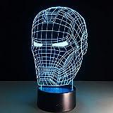 Hierro superhéroe transparente acrílico Veilleuse Enfant Night Light 3D LED lámpara de mesa niños regalo de cumpleaños decoración de la habitación