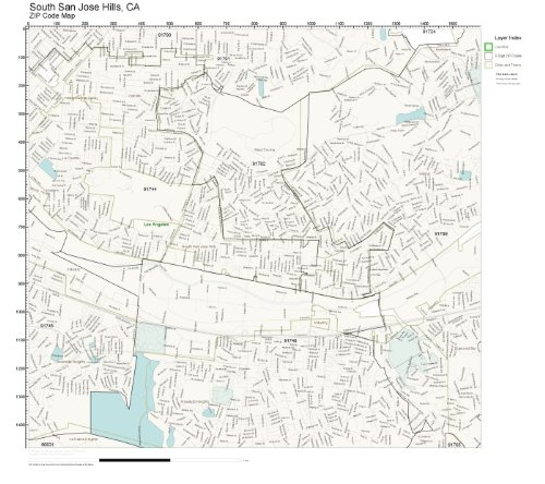 ZIP Code Wall Map of South San Jose Hills, CA ZIP Code Map Laminated