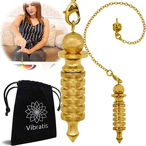 Péndulo egipcio de radiestesia ISIS de latón dorado | Péndulo divinatorio testigo magnetizador [Satisfacto o reembolsado de por vida]