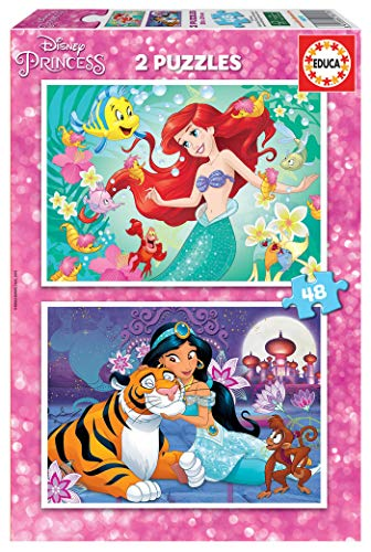 Educa Borrás 2 puzzles infantiles, 48 piezas, Ariel y Jasmin, a partir de los 4 años, multicolor (18213) , color/modelo surtido
