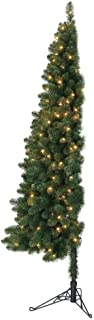 Home Heritage 7 Foot Pre-Lit Artificial Half Pine Christmas Tree with Warm White LED Lights and Folding Stand