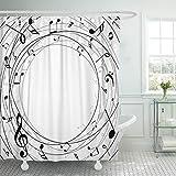 Música Patrón de Notas Musicales Cortina de bañera Hoja clásica Cortina de Ducha con Llave Blanca con Ganchos Cortina de decoración de baño 72 'W x 72' H