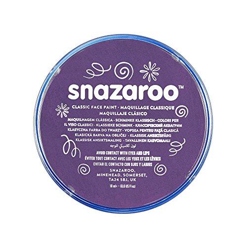 Snazaroo 1118888 Kinderschminke, hautfreundliche hypoallergene Gesichtschminke auf Wasserbasis, wasservermalbar, parabenfrei, lila, 18 ml Topf