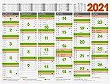 Brunnen 1070122 Tafelkalender 65x50 cm quer Arbeitsvorbereitungs-Kalender mit Tageszählung und Ferienterminen besonders starker Karton 1 Seite 6 Monate dreifarbig,Wandkalender Plakatkalender