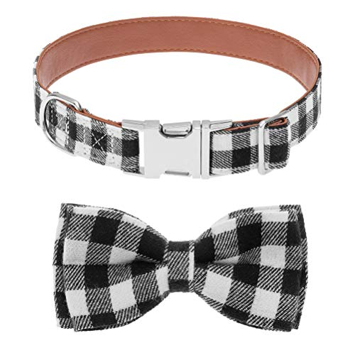 SCENEREAL PU Dog Collar with Detachable Bow Tie - Adjustable Black and White Plaid Doggy Collar, PU Leather Pet Collar for Small Medium Dogs