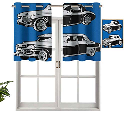 Hiiiman Elegant Grommet Top Curtain Valances Black and White Vintage Cars on Navy Blue Backdrop Classic Old Vehicles, Set of 1, 50'x18' Home Decorative for Boys-Girls Room