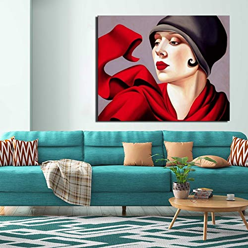 tzxdbh 41x51cmMit Rahmen Tamara de Lempicka Schönheit Leinwand Gemälde Druck Wohnzimmer Wohnzimmer Dekoration Kunstwerk Moderne Wandkunst Ölgemälde Poster Bild