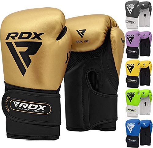 RDX Kids Boxing Gloves for Training, Muay Thai, Maya hide leather Junior 6oz Mitts for Kickboxing, Sparring, Fighting, Good for Youth Punch Bag, Grappling Dummy and Focus Pads Punching