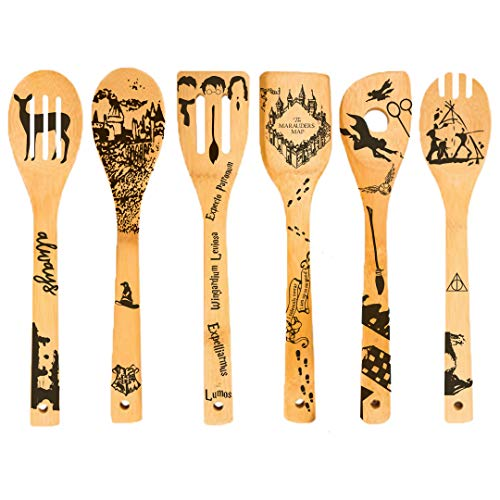 6 PCS Organic Bamboo Spoons Cooking & Serving Utensils Set- Magic Pattern Burned Wooden Spoon Carved Spatulas For Kitchen Decorations-Great Gift Idea Birthday or Special Days For Woman & Chefs&Foodies