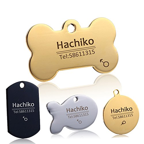 YVYOO Custom Dog Collar Stainless Steel Dog cat tag Free Engraving Pet Dog Collar Accessories ID tag Name Telephone Personalized (Golden Bone, L)