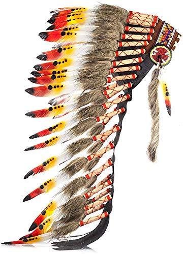KarmabCN Y28 – Amerikaanse geïnspireerde hoofddeksel zwart gemiddelde veer (36 inch lang) / oorlogse muts (geel en rood swan)