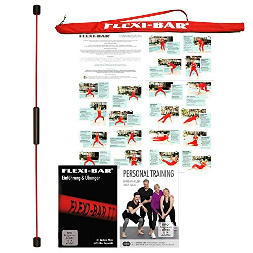 FLEXI-BAR® Standard Rot Personal-Training-Set 1, hochbelastbarer Schwingstab von Flexi-Sports mit Tasche Rot, Einführungs-DVD, 2 DVDs Personal Training und Trainingsplan, Schwungstab, Schwingstick