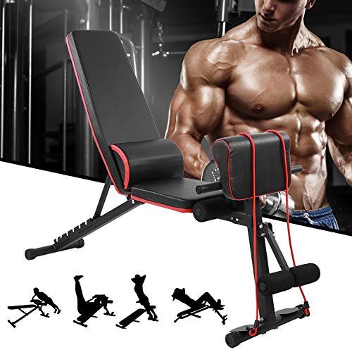 Banco de pesas ajustable, banco de pesas con plegado rápido, versión 2020 para entrenamiento de cuerpo completo