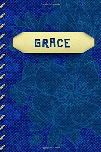 GRACE: Personalized Gratitude Journal for GRACE | Cobalt/Royal Blue Color Cover and Muted Flowers in Background | Faux Cream Color Stitching on Spine ... Looks Like It's Tucked into Cover | Unique!