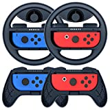 COODIO Volante y Grip Switch Joy-Con, Switch Joy-Con Racing Wheel Volante, Mandos Grip Joy-Con para Mario Kart Juegos / Joy-Con Mandos Nintendo Switch, Azul Oscuro (Pack de 4 Deluxe)