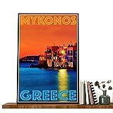 Póster de la isla de Grecia de Mykonos, Grecia, lienzo de Mykonos, póster en lienzo de Mykonos, lienzo de Grecia, cuadro nocturno del mar de Mykonos, sin marco, póster de 81 x 122 cm