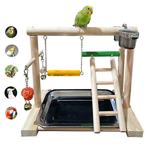 WYunPets Bird Perch Playground Parrot Gym Stand with Feeder...