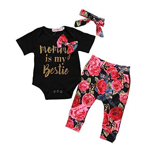 Kinderkleidung Kleinkind Kinder Baby MäDchen Outfits Kleidung Schulterfrei Bowknot T-Shirt + Shorts Drop Print Schulterfreies Top Babybekleidung für Mädchen