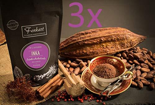 Trinkschokolade 3x Zimt & Kardamom 200g | Inka Arriba nacional Kakao Natur aus kräftigem Edelkakao aus Ecuador | EdelKakaogehalt 75% | Vom Bodensee