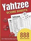 Yahtzee Score Sheets: 888 Yahtzee Score Sheets Large Print 8.5'x11' Games