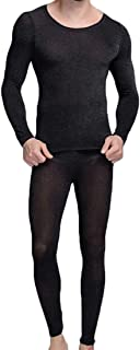 Abeaicoc Men Two Piece Warm Stretch Seamless Breathable Midweight Long Johns Set