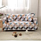 LiQinKeJi8 Funda de sofá, Cubiertas de sofá Impresas de Cadena para Sala de Estar Elástica Stretchever Secur Sofa Esquina Sofá Cubiertas 1/2/3/4-plazas para sofás