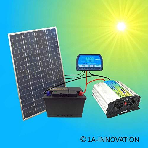100W Komplette 220V Solaranlage Poly TÜV Akku 100W Solarmodul 1000W Spannungswandler Gartenhaus NEU Solar Garten Set Camping Wohnmobil Inselsystem