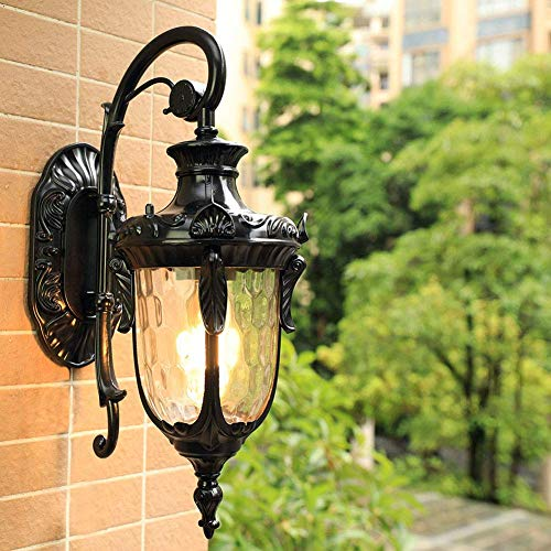 Linterna de pared para exteriores, lámpara de pared rústica impermeable, lámpara de pared tradicional para exterior, lámpara de pared para pasillo, balcón, jardín, aplique de pared con fuente de luz