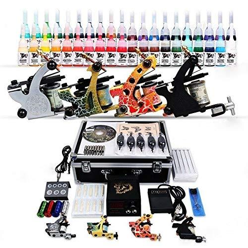 RANZIX Kit completo de tatuaje con 4 máquinas de tatuaje, 40 incluye 50 agujas y maletín