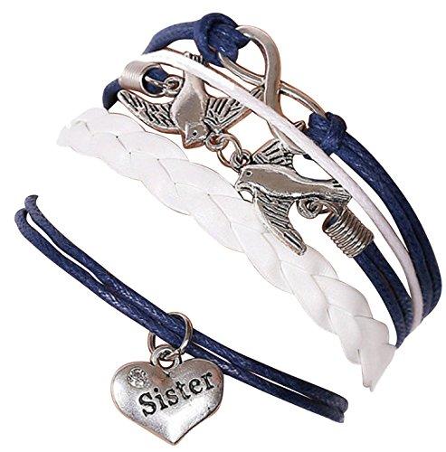 Bracelet  sister marron couple d'oiseaux avec perle  et lien infini