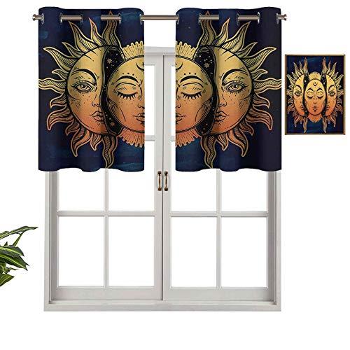 Hiiiman Cenefa térmica aislada para ventana con diseño de luna y sol con muchas caras fractales, impresión artística mística, juego de 2, 42 x 24 pulgadas para habitación de niños