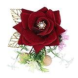 HERCHR 5 pièces vin Artificiel Rose Hommes Mariage boutonnière cérémonie décoration de fête