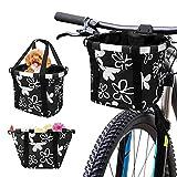 Bestcool Cesta plegable para bicicleta, cesta delantera de bicicleta desmontable para manillares de aleación de aluminio para mascotas con cierre de cordón (negro con flores)