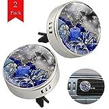 TIZORAX Car Aromatherapy Blaue Weihnachtskerze 2 Packungen Luftauffrischer Diffusor Ätherische Ölklammerreiniger mit Nachfüllkissen