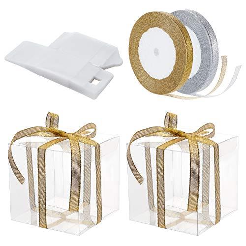 BENECREAT 30PCS Scatole per Bomboniere a Forma di Cubo Trasparente 9x9x9cm Scatole Regalo in PVC con 2 Rotoli di Nastri Oro e Argento per Caramelle al Cioccolato
