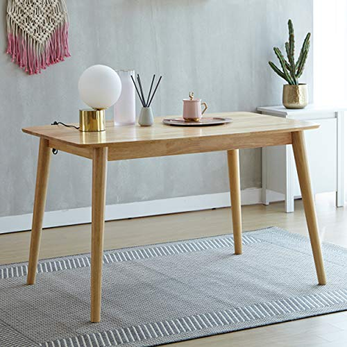 Mid Century Hardwood Dining Table, Modern Solid Wooden Legs Rectangle Kitchen Table for 4-Person, Series of Aslan (Natural)