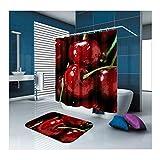 ANAZOZ Duschvorhang+Badematte 2er Set Kirsche Wasserdicht Anti-Bakteriell Anti-Schimmel Badezimmer Vorhänge Waschbar Anti-Rutsch Badvorleger Badezimmerteppich für Badezimmer Duschraum Rot 150X180cm