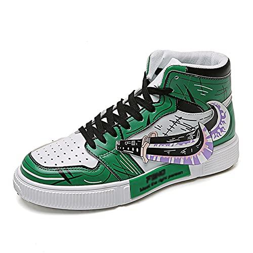 DHRR Zapatillas de Baloncesto para Hombre UNA Pieza Roronoa Zoro Zapatillas Altas Lona Estudiantes Zapatos Deportivos cómodos para Caminar Senderismo Aptitud atlética