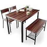 LOWYA ロウヤ ダイニングセット テーブル 4人掛け チェア 2脚 ベンチ 4点セット ウォルナット