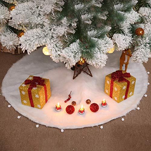 gousheng Falda de árbol de Navidad 76120150 cm 1 Pieza Falda de árbol de Navidad de Felpa Blanca Alfombra de Piel decoración de Navidad Fiesta navideña