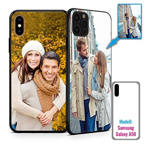 PixiPrints Foto-Handyhülle mit eigenem Bild kompatibel mit Samsung Galaxy A50, Hülle: TPU-Silikon in Schwarz, personalisiertes Premium-Case selbst gestalten mit flexiblem Druck