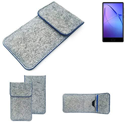 K-S-Trade Handy Schutz Hülle Für Leagoo KIICA Mix Schutzhülle Handyhülle Filztasche Pouch Tasche Hülle Sleeve Filzhülle Hellgrau, Blauer Rand