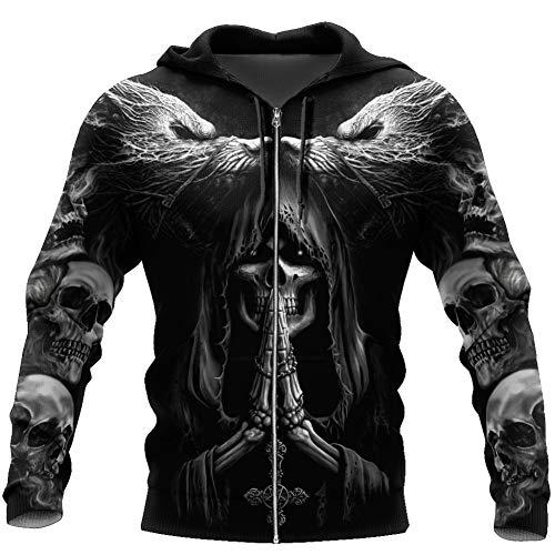 BBYaki Viking Hoodie Fenrir Wolf Skull Tattoo 3D Printing Casual Loose Couples Pullover Sweater Long-Sleeve Black Autumn Men's Novelty Clothing,Zip Hoodie,L