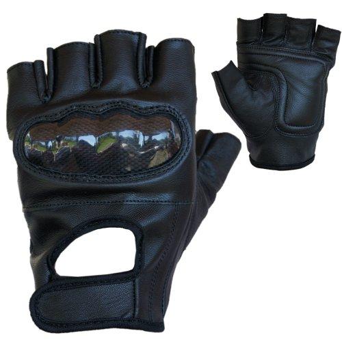 PROANTI Motorradhandschuhe Leder Chopper Handschuhe mit Protektor (Gr. S-XXL, schwarz) - L