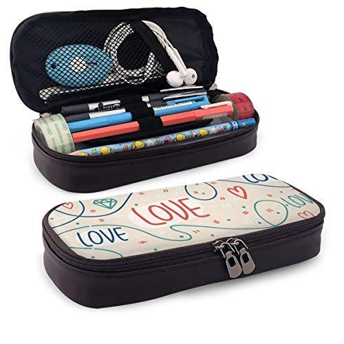 JOJOshop - Estuche para lápices de piel con líneas, corazones y letras, 8 x 3,5 x 1,5 pulgadas, gran capacidad, doble cremallera, bolsa para lápices